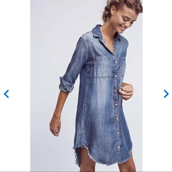 Anthropologie Dresses & Skirts - Anthro Cloth And Stone Fringe Chambray Dress XS